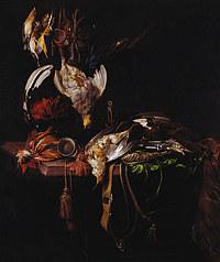 tablou willem van aelst - still life with dead birds