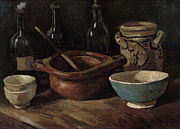 tablou van gogh - still life with three bottles and earthenware, 1884
