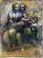 Tablou canvas leonardo da vinci - madonna and child with st anne and the young st john