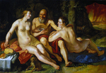 tablou goltzius - lot and his daughters, nud