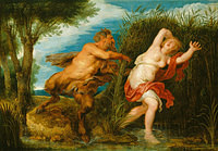 Tablou canvas rubens - pan and syrinx (1620)