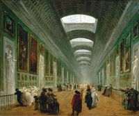 Tablou canvas hubert robert - development of the grande gallery of the louvre, 1796