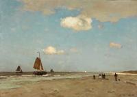 tablou jan hendrik weissenbruch - beach scene