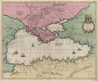 tablou map of pontus euxin, black sea, 1620