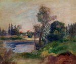 Tablou canvas Renoir - banks of the river, 1906