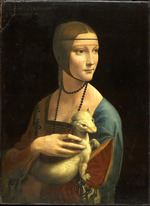 tablou leonardo da vinci - portrait of cecilia gallerani (lady with the ermine), 1488
