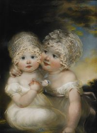 tablou russell - two small girls with bonnets