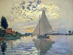 Tablou canvas claude monet - sailboat at le petit gennevilliers, 1874
