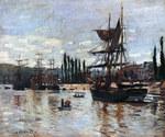 Tablou canvas claude monet   boats at rouen, 1872