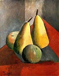 tablou picasso - poires et pommes, 1908
