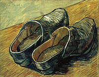 tablou van gogh - a pair of leather clogs, 1888