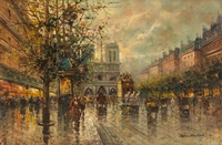 Tablou canvas antoine blanchard - notre dame de paris, 1910