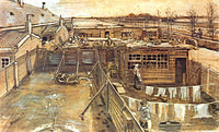 Tablou canvas van gogh - carpenter`s workshop seen from the artist`s studio, 1882