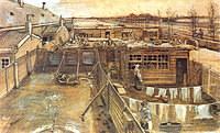 tablou van gogh - carpenter`s workshop seen from the artist`s studio, 1882