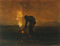 Tablou canvas van gogh - peasant burning weeds, 1883