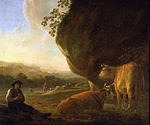 tablou aelbert cuyp - landscape with a shepherd playing his flute