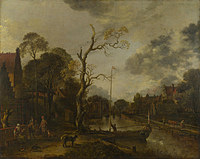 tablou aert van der neer - a view along a river near a village at evening