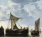 tablou aelbert cuyp - boats at the marina, 1650