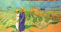 tablou van gogh - two women crossing the fields