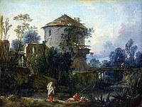 tablou francois boucher - landscape with fisherman