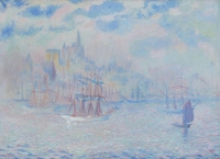 tablou theodore earl butler - ships in new york harbor, 1907