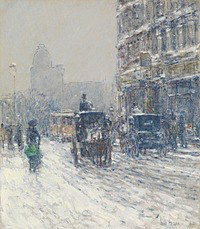 Tablou canvas childe hassam - winter, new york (winter morning on broadway), 1904