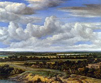 tablou philips koninck - landscape with a road along the river (1655)