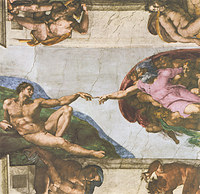 tablou michelangelo - the creation of man, sistine chapel (detail)