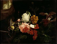 tablou willem van aelst - still life with flowers