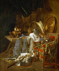tablou willem van aelst - still life with the armor and silver ware