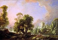 tablou francois boucher - pastoral landscape with girl (1761)
