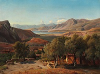 tablou louis gurlitt - italian landscape with houses and olive trees