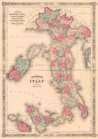 tablou map of italy, 1866