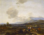 tablou nicolaes pietersz berchem - italian landscape with shepherds laughing, 1678
