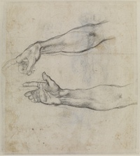 tablou michelangelo buonarroti, studies of an outstretched arm for the fresco 'the drunkenness of noah' in the sistine chapel, 1508