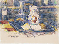 tablou paul cezanne - still life with bottle, carafe, jug and lemons, 1902
