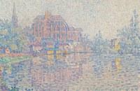 tablou paul signac - auxerre, la riviere, 1902 03