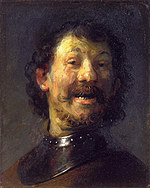 Tablou canvas rembrandt - portret of a laughing men (1629)