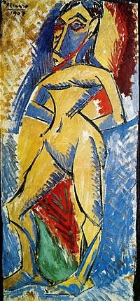 tablou picasso - femme nue en pied, 1907