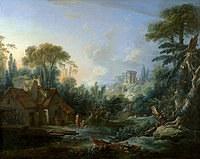 tablou francois boucher - watermill (1740)