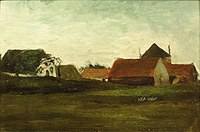 Tablou canvas van gogh - farmhouses in loosduinen near the hague in twilight, 1883