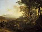Tablou canvas jan dirksz both - italian landscape with a traveler on a mule (1640)