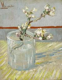 tablou van gogh - sprig of flowering almond in a glass, 1888