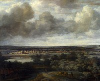 tablou philips koninck - landscape with the city in the distance (1665)