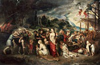 Tablou canvas rubens - aeneas and his family departing from troy