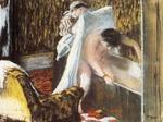 tablou 1877  edgar degas - femme sortant du bain, femme au bain