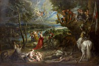 Tablou canvas rubens - landscape with saint george and the dragon (1630)