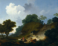 tablou jean honore fragonard - landscape with shepherds and flock of sheep (1763)