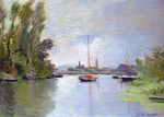 Tablou canvas claude monet   argenteuil seen from the small arm of the seine, 1872