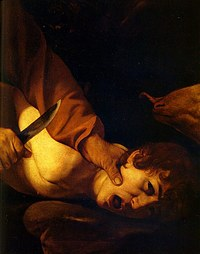 tablou caravaggio - sacrifice of isaac (detail)